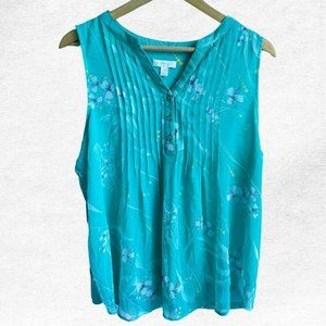 NWT Charter Club Turquoise Pintuck V-Neck Blouse